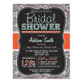 Gray Paisley Chalkboard look Bridal Shower Postcard