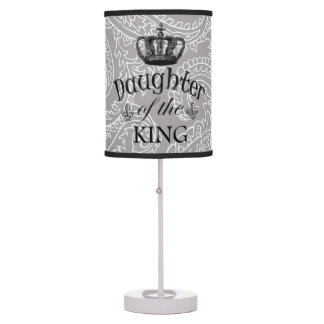 Gray Paisley Daughter of the King Table Lamp