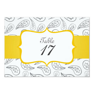 gray paisley pattern on white table number personalized invites