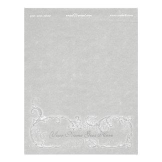 Gray Parchment White Scrolls Letterhead