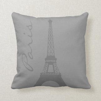 Gray Paris Eiffel Tower Pillow