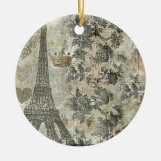 Gray Parisian Collage Ceramic Ornament