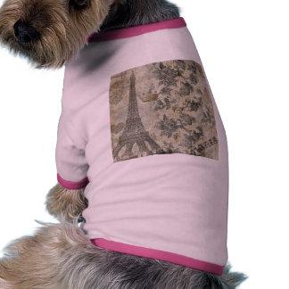 Gray Parisian Collage Dog T Shirt