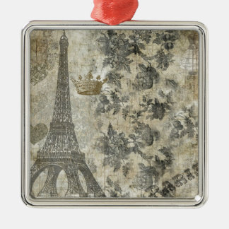 Gray Parisian Collage Square Metal Christmas Ornament