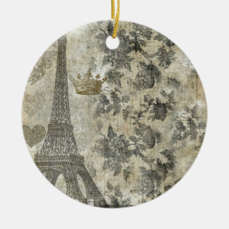 Gray Parisian Collage Double-Sided Ceramic Round Christmas Ornament