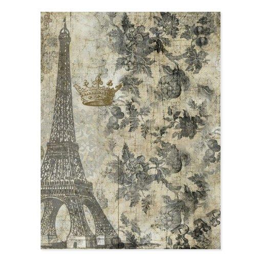 Gray Parisian Collage Postcard