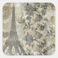 Gray Parisian Collage Square Sticker