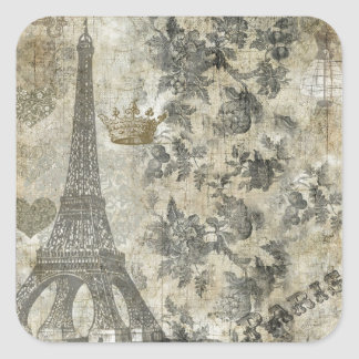 Gray Parisian Collage Square Sticker
