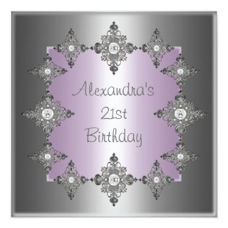 Gray Pastel Purple Silver Jewel Frame Birthday Card