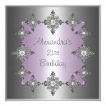 "Gray Pastel Purple Silver Jewel Frame Birthday 5.25"" Square Invitation Card"