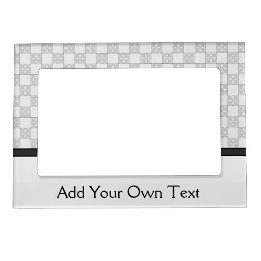 Gray Patchwork Pattern Photo Frame Magnets