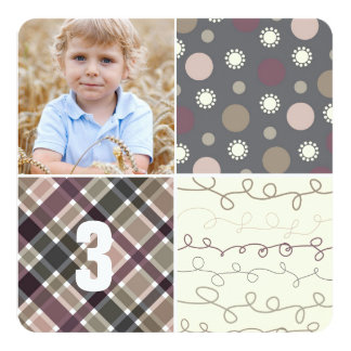 Gray Patchwork Pattern Squares Boy Photo Birthday Card