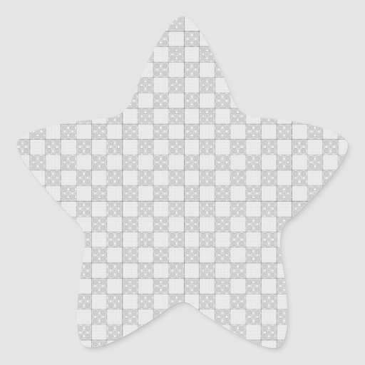 Gray Patchwork Pattern Star Sticker