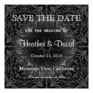 Gray Pattern Save the Date Wedding Invitation