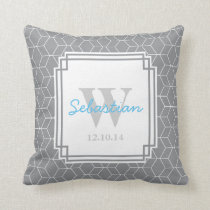 Gray Patterned Personalized Baby Boy Throw Pillow