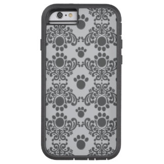 Gray Paw Print Damask iPhone 6 Case