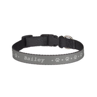 Gray Paw Print Polka Dot Dog Collar