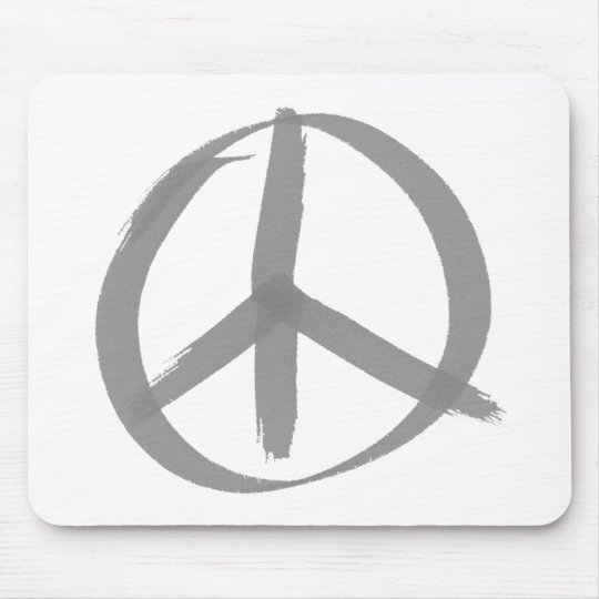 Gray Peace Sign Mouse Pad