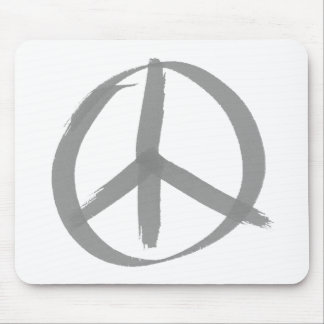 Gray Peace Sign Mouse Pads
