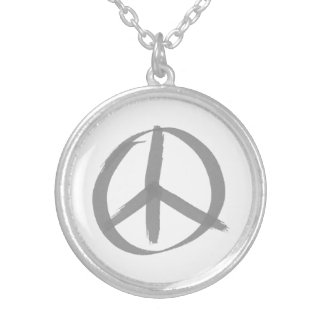 Gray Peace Sign Necklace