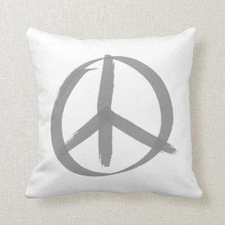 Gray Peace Sign Throw Pillow