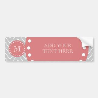 Gray & Peach Modern Chevron Custom Monogram Bumper Sticker
