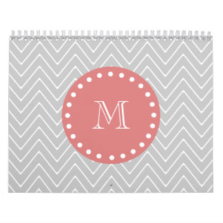 Gray & Peach Modern Chevron Custom Monogram Calendar