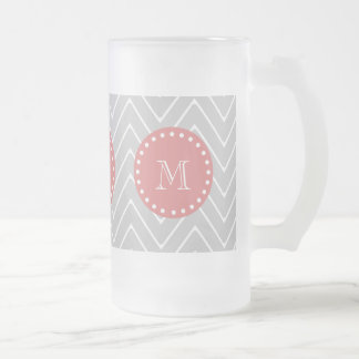 Gray & Peach Modern Chevron Custom Monogram Frosted Glass Beer Mug