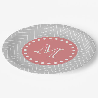 Gray & Peach Modern Chevron Custom Monogram Paper Plate