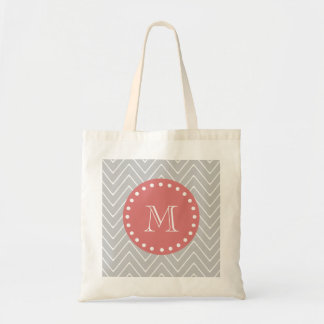 Gray & Peach Modern Chevron Custom Monogram Tote Bag