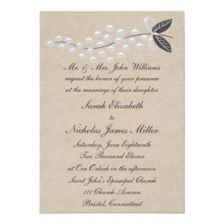 Gray Pearls Parchment Wedding Invitation