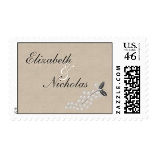Gray Pearls Parchment Wedding Postage stamp