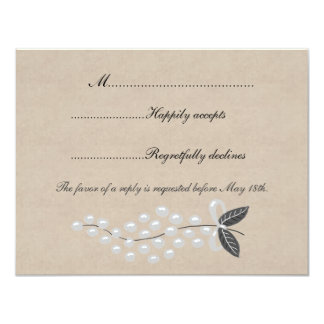 Gray Pearls Parchment Wedding RSVP Card