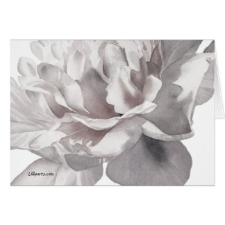 Gray Peony Fine Art Watercolor Greeting Card