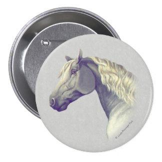 Gray Percheron Horse Head Pinback Button
