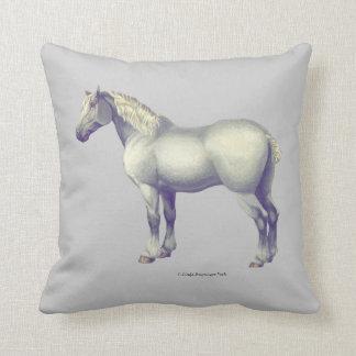 Gray Percheron Horse Throw Pillow