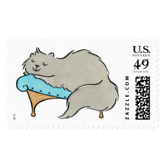 Gray Persian Kitty Cat Relaxing on Chaise Lounge Postage