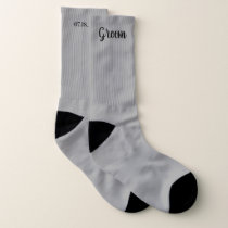 Gray Personalized Groom Wedding Socks