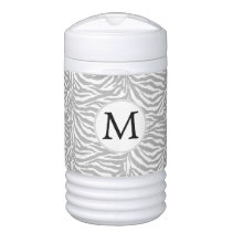 Gray Personalized Monogram zebra stripes Beverage Cooler
