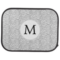 Gray Personalized Monogram zebra stripes Car Mat