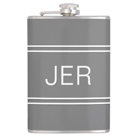 Gray Personalized Monogrammed  Initials Drink Flask