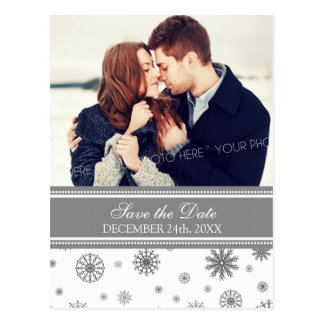 Gray Photo Save the Date Winter Wedding Postcards
