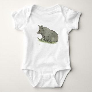 Gray Pig Piggy Children's Book Illustration Baby Bodysuit