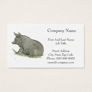 Gray Pig Piggy Children's Book Illustration Business Card