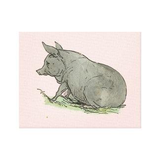 Gray Pig Piggy Children's Book Illustration Canvas Print