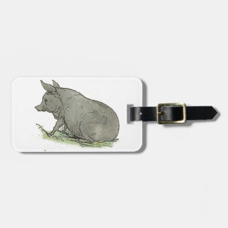 Gray Pig Piggy Children's Book Illustration Tag For Luggage