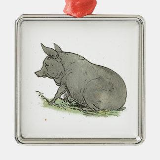 Gray Pig Piggy Children's Book Illustration Metal Ornament