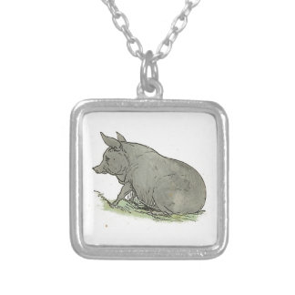 Gray Pig Piggy Children's Book Illustration Jewelry