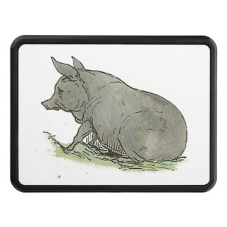 Gray Pig Piggy Children's Book Illustration Trailer Hitch Cover