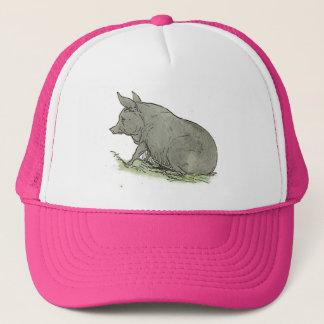 Gray Pig Piggy Children's Book Illustration Trucker Hat